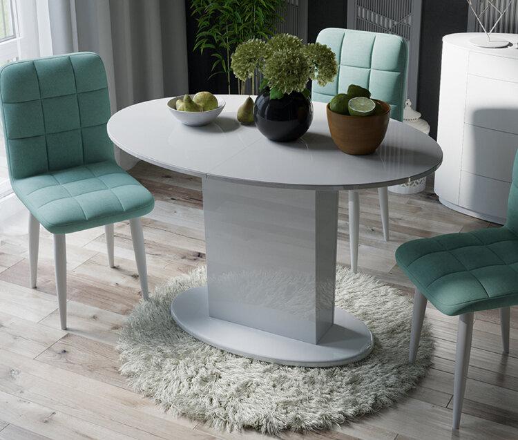 """Стол """"Марсель-М со стеклом"""" (Белое/Стекло белое глянец), 85х120 см."""