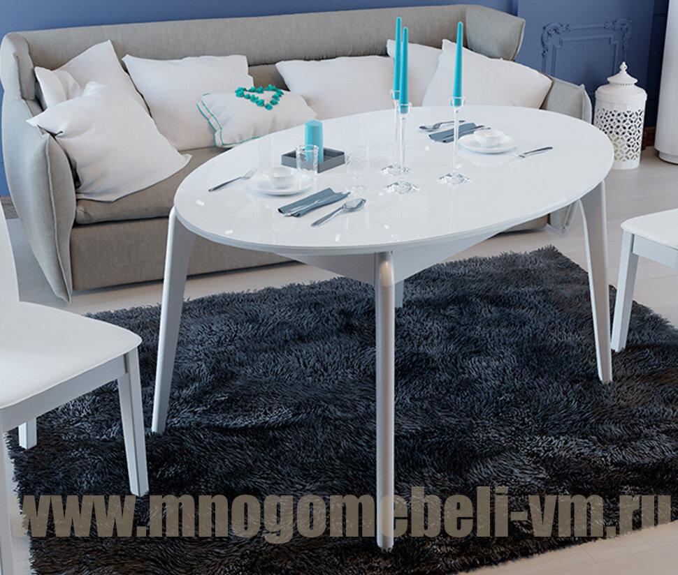 Стол Марсель со стеклом на 4-х ножках (белый) белый/стекло белое Ширина 96,5 см Длина 150(192) см Высота 75 см