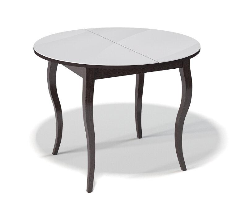 Стол Kenner 1000С Венге / стекло Белое глянец