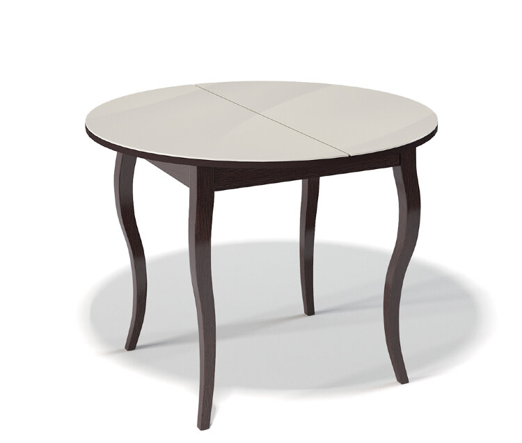 Стол Kenner 1000С Венге / стекло Крем глянец