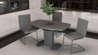 Стол «Портофино со стеклом» (серый) 80х130 см