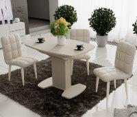 Стол Портофино со стеклом  (Бежевый /стекло Бежевое), 75х110 см