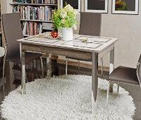 Стол со стеклом «Палермо» (Дуб Сонома / стекло Бежевое с рисунком)
