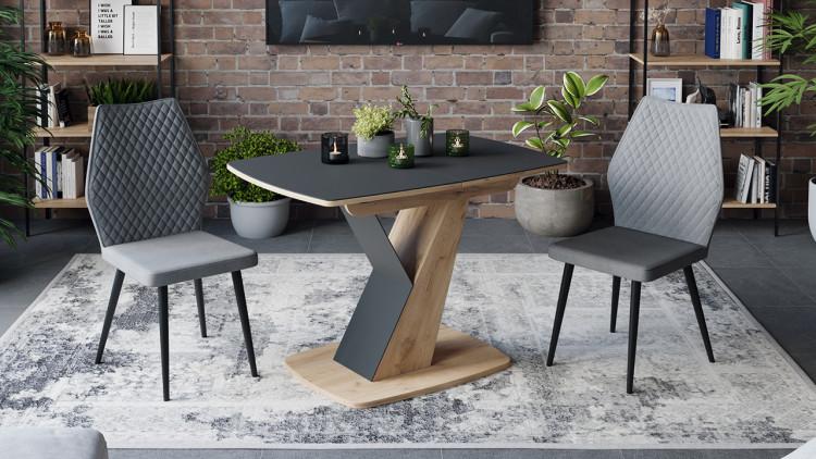 Стол обеденный «Гарда» Тип 1 (Дуб крафт золотой/Стекло матовое черный графит)
