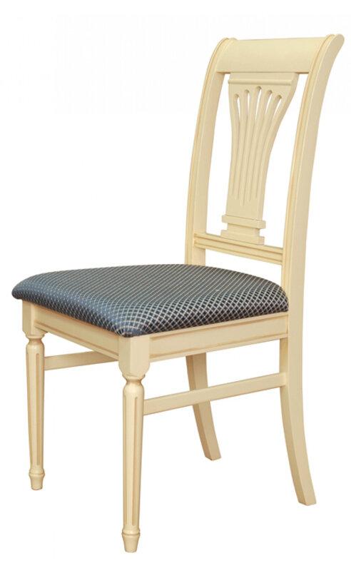 Стул «Аллегро-К»  Размер (ШхГхВ):47х45х97 см. Особенности:  Из массива;  С мягким сиденьем; С жесткой спинкой; Круглая ножка; Резные элементы;  40 цветов дерева: 100 вариантов тканей;  Стиль: Классический Фабрика «Квинта-Мебель»