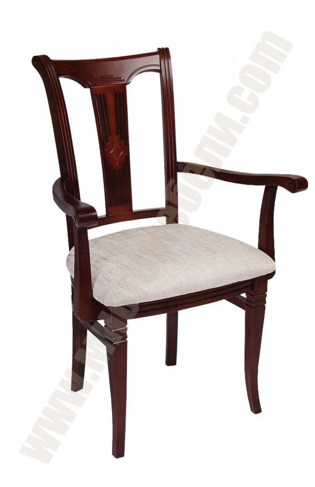 Кресло СМ-11 Размер (ШхГхВ):53х55х94 см. Особенности: С мягким сиденьем,С мягкой спинкой,С подлокотниками, Из массива Стиль: Классический 40 вариантов тонировки.  Срок изготовления: 15 раб. дней