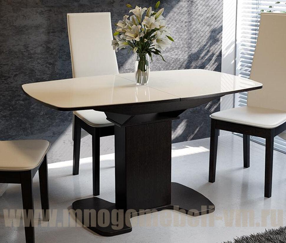 Стол Портофино со стеклом (венге/беж), 80х130 Венге/стекло бежевое Ширина 80 см Длина 130(161,5) см Высота 75 см
