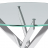 Стол «Dikline R90» (Стекло прозрачное / ножки Хром)