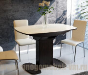 Стол Портофино со стеклом  (венге/беж), 75х110