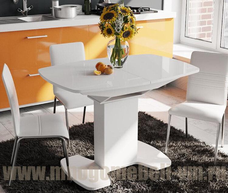 "Стол ""Портофино со стеклом"" (белый), 75х110"